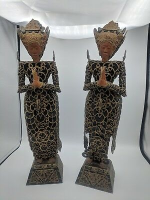 Rare Antique Early 1900s Bali Chinese Coin Doll Statue Pair from Indonesia