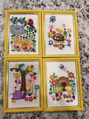Vintage Crewel Embroidery Set Of 4 Completed Framed Pictures MOD Retro Hippy Kid