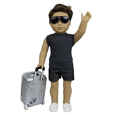 Lot 5pcs For America 18 inch Boy Doll Shoes Case Glasses Travel Suitcase Clothes