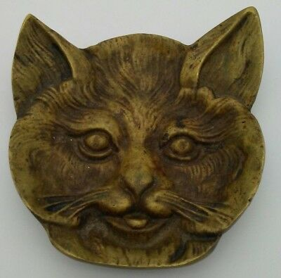 Solid Cast Brass Cat Head Pin Tray Circa 1910 Detailed 3D Trinket Holder Bronze