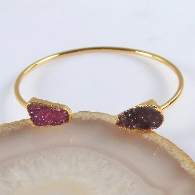 Hot Pink Agate Druzy Geode Bangle Gold Plated T073305