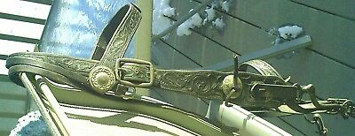 Antique Andy Card Shawnee wide tooled western bridle military bit