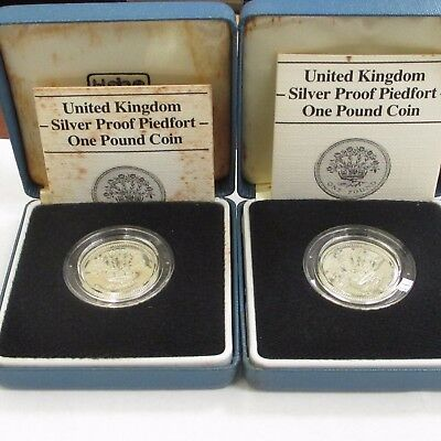 Lot Of 2 1986 Great Britain Royal Mint Silver Proof Piedfort One Pound Coin