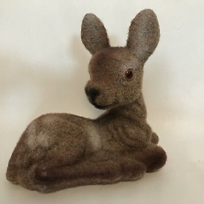 """Vintage Flocked Fuzzy Baby Fawn Deer Laying Down 5.25"""" tall Christmas A8"""