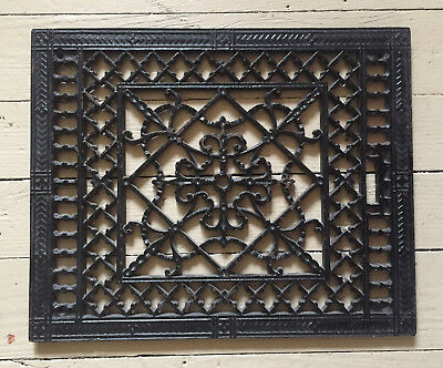 Iron Victorian Heat Register Cover Vtg Ornate Grate Vent Wall Decor 16.5 x 13.5""