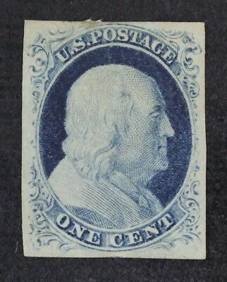 CKStamps: US Stamps Collection Scott#9 1c Franklin Unused NG Signed Tiny Thin
