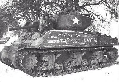 WW2 WWII Photo US Army Sherman Tank 4th Armored First in Bastogne World War Two