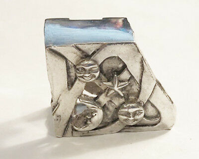1992 Barry Kieselstein-Cord Sterling Belt Buckle, Man in the Moon, Star ++