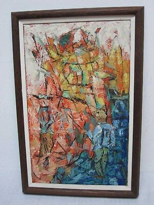 """SIGNED JOSEPH MEERT ORIGINAL OIL ON CANVAS with ABSTRACT FIGURES ~ 20 1/4"""""""