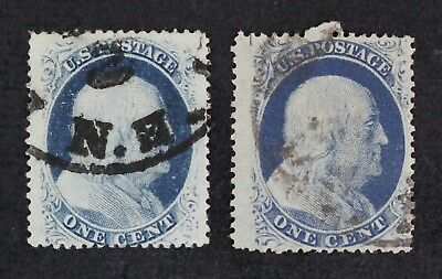 CKStamps: US Stamps Collection Scott#24 (2) 1c Franklin Used 1 Lightly Crease