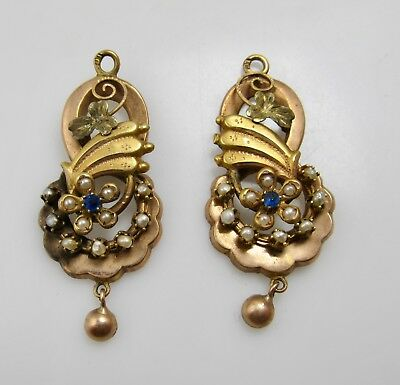 Pair Of Victorian Drops For Earrings 10K Rose Gold Pearls Blue Paste Antique