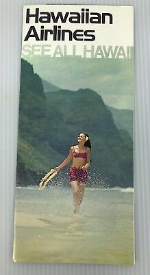 Vintage Hawaiian Airlines See All Hawaii Brochure Full Color with Map