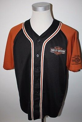 Harley Davidson Las Vegas Mens L Large Button Up Black Orange Jersey Shirt NICE!