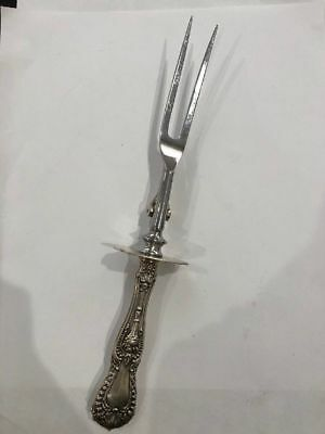 """Dorothy Vernon by Whiting Sterling Silver Roast Carving Fork 10"""" rare antique"""