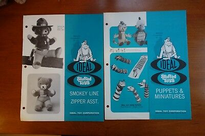 2 Ideal 1960's Stuffed Toy Catalog Pages Hanna Barbera Smokey the Bear