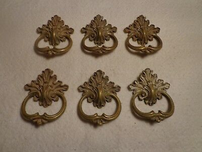 6 Vintage Solid Brass French Provincial Drawer Pulls