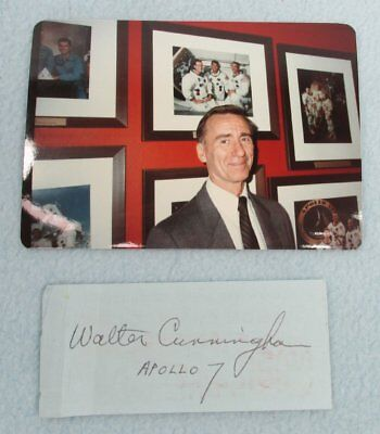 APOLLO 7 Astronaut WALTER CUNNINGHAM  Photo + Signed NASA Briefing Ticket 1986