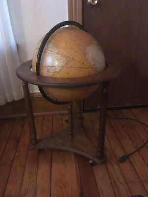 """Mid Century Cram's Classic Edition 16"""" Library Floor Globe Wood Table Stand"""