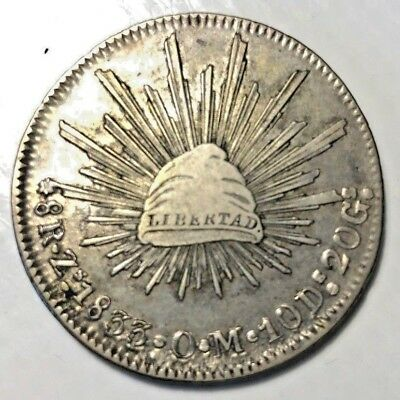 Mexico 1833 Zs OM 8 Reales CAP & RAYS Dollar NICE SILVER COIN