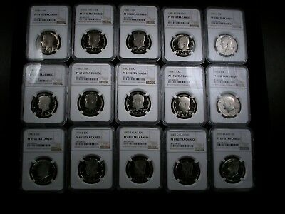 Kennedy Half Dollars 15 different date NGC graded PF69 UC