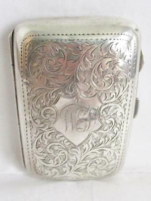 Superb Antique Solid Silver Cigarette Case Hallmarked Birmingham 1923 John Rose
