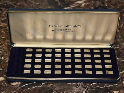The Great Airplanes Sterling Miniature Collection 45 Total .925 Silver Ingot