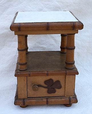 French Doll House Miniature Faux Bamboo Night Stand 1900