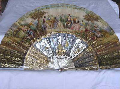 Antique Fan-Beautiful Carved Mother of Pearl Sticks
