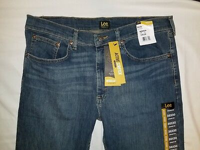 New Lee Active Stretch Mens Regular Fit Straight Leg Blue Jeans Size 36x30