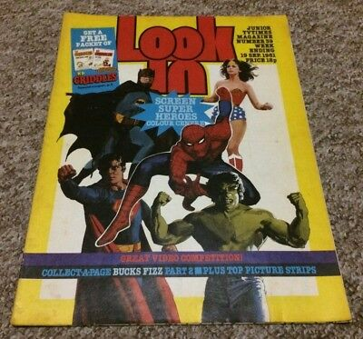 Look-In Magazine #39 19/9/1981 Marvel & Dc Batman Centre Bobby G Collect-A-Page