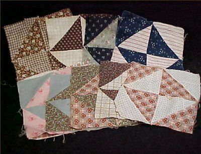 12 Vintage Antique Quilt Blocks Cotton Fabric Victorian 1800s and Pieced Browns
