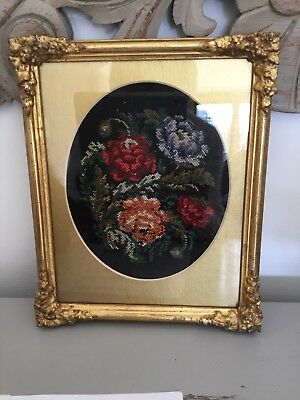 Beautiful Vintage Hand Stitched Tapestry Picture In Antique Gilt Frame