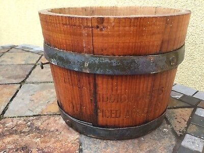 Rare Antique Vintage Country Store Wooden Apricot Bucket Bail Handle