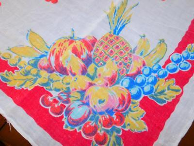 """Vintage Linen TABLECLOTH 50x50"""" RED PINK FRUIT Cherries Strawberries PINEAPPLES"""