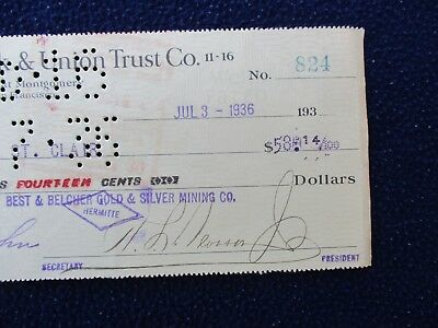1936 Wells Fargo,San Francisco,Gold & Silver Mining,President signed Check