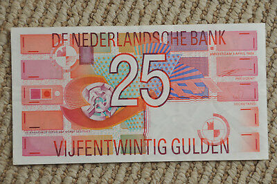 Netherlands 25 Gulden Paper Currency Banknote 1989