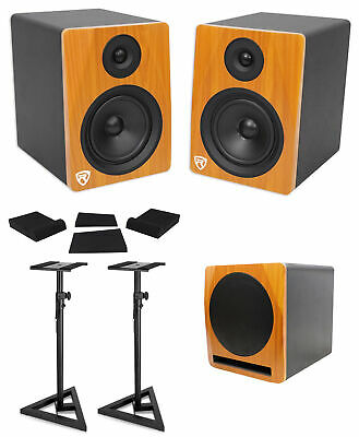 "2) Rockville APM6C 6.5"" Powered Studio Monitors+Active 10"" Subwoofer+Stands+Pads"