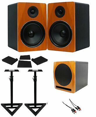 "(2) Rockville APM8C 8"" Powered Studio Monitors+Active 10"" Subwoofer+Stands+Pads"