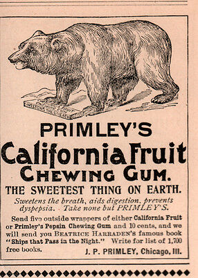 Ad Lot Of 9 Early  Primleys Chewing Gum Ads Bear Clown Quack Stevenson Books
