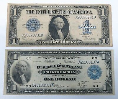 1923 $1 Silver Certificate & 1914 $1 National Currency, Philadelphia