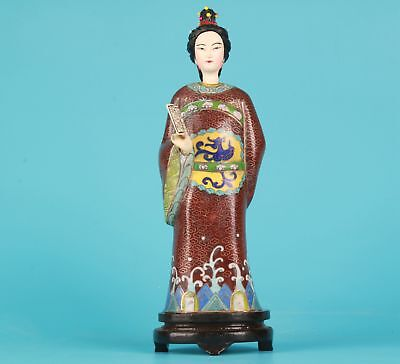 Antique Chinese Cloisonne Enamel Statue Only One Old Handmade Queen Decoration
