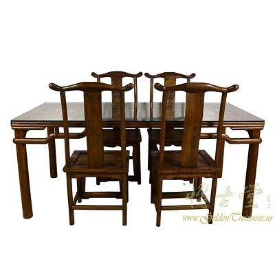 Chinese Antique Carved Dining Table w/4 Chairs set