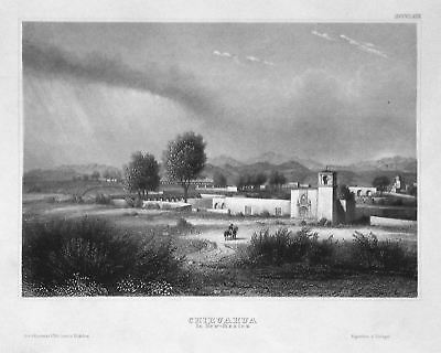 1840 New Mexico Chihuahua Amerika America Ansicht view Stahlstich engraving