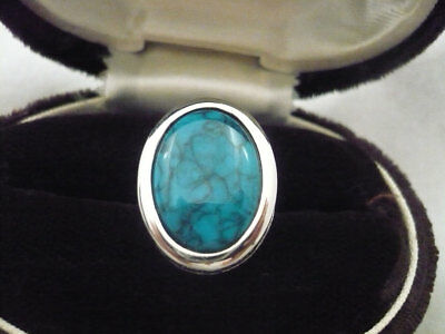 Vintage Sarah Coventry Canada silver tone ring large turquoise stone