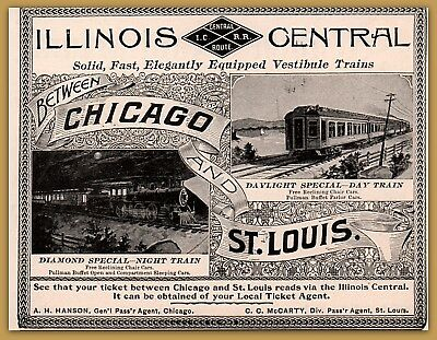 1897 Illinois Central Railroad Print Ad Photos Diamond Special Daylight Special