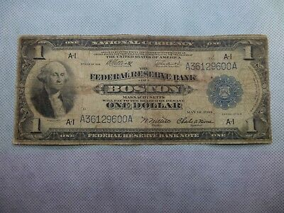 1918 Large Size Federal Reserve FRBN Boston $1 One Dollar Note US Currency