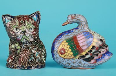 2Unique Chinese Cloisonne Enamel Statue Handcrafted Old Cat Swan Collection Gift