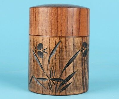 Hand-Carved Orchid Cherry Wood Premium Tea Caddies Gift