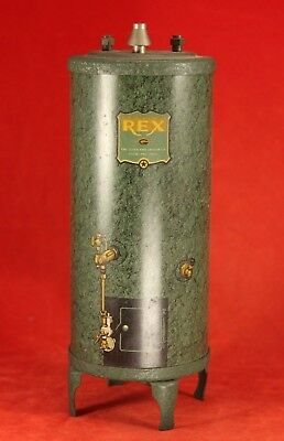 """7½"""" REX Cleveland Heater Company Tin Advertising Bank - 2 Available"""