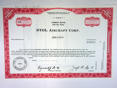 MA. STOL Aircraft Corp 1969 SPECIMEN <100 Shares Stock Certificate ABNC